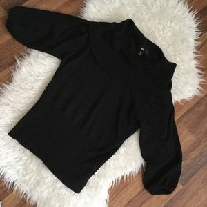 MOSSIMO BLACK SWEATER 3/4 SLEEVE SZ L